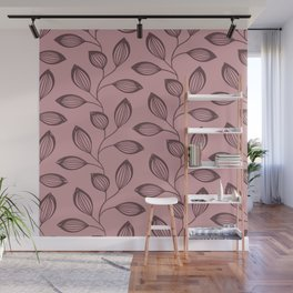 Climbing Leaves In Dusky Copper On Rose Wall Mural
