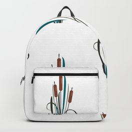 Seamless pattern with bushes of reed Backpack