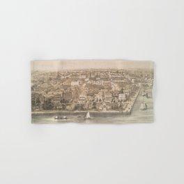 Vintage Pictorial Map of Charleston SC (1851) Hand & Bath Towel