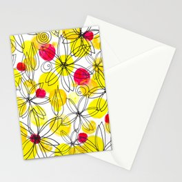 Pineapple Upside Down Floral: Bright Paint Spots with Black Ink Floral Elements Stationery Cards