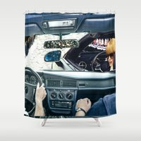 drive Shower Curtains featuring DRIVE by marzesu collages
