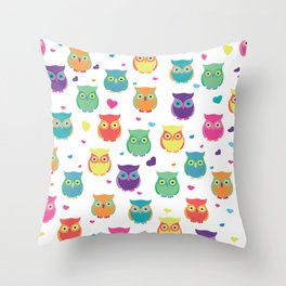 Rainbow Owl Cuties Throw Pillow