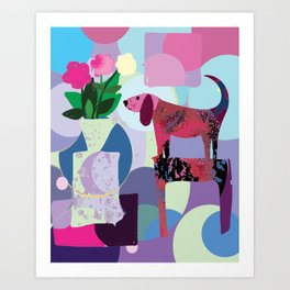 Pink Dog and Flowers Art Print