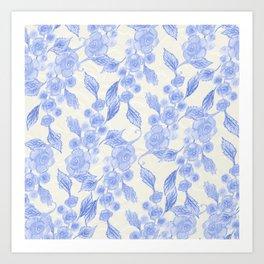 Blue Floral Pattern (Color) Art Print