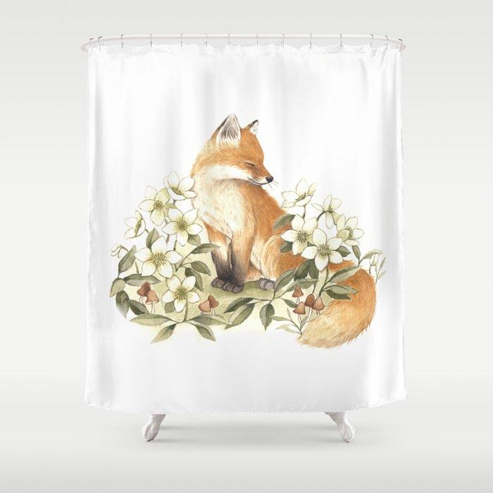 Springtime Fox Shower Curtain
