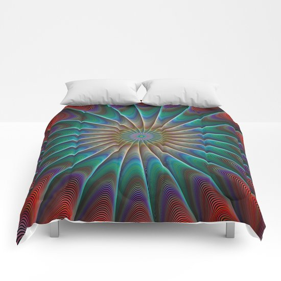 Peacock fractal Comforters