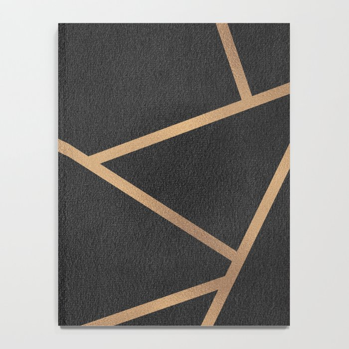 Dark Grey and Gold Textured Fragments - Geometric Design Notebook