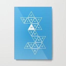 Blue Unrolled D20 Metal Print