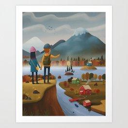 Into the mountains! Art Print
