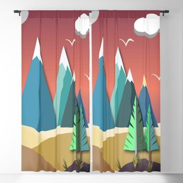 Mountain Landscape 2D Blackout Curtain
