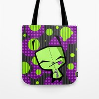 invader zim Tote Bags featuring Happy Gir from Invader Zim by NefariousBear