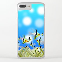 Aquarium of Colorful Fishes, Blue Bokeh Background Clear iPhone Case