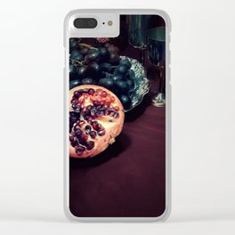Still life with grapes and pommegranate Clear iPhone Case