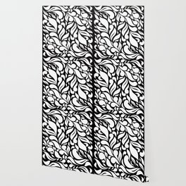 Abstract Leaves - Black and White Wallpaper