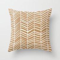 herringbone Throw Pillows featuring Kraft Herringbone by Cat Coquillette