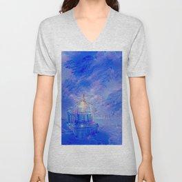 The Teapot Village - Blue Japanese Lighthouse Village Artwork Unisex V-Neck