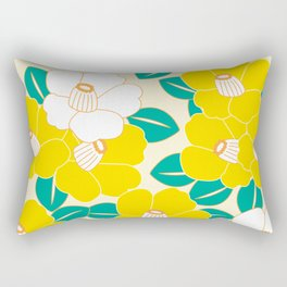 Shades of Tsubaki - Yellow & White Rectangular Pillow