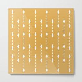 Tribal Prints, Yellow and White, Boho Wall Art Metal Print