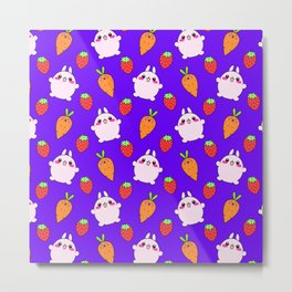 Cute funny Kawaii pink little baby bunnies, happy orange carrots and ripe juicy summer strawberries adorable lovely purple fruity pattern design. Nursery decor ideas. Metal Print