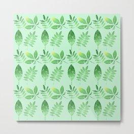 Green Leaves Light Green Bkgrd Metal Print