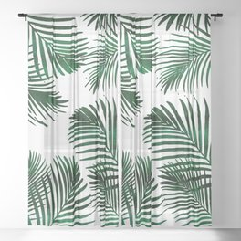 Tropical Palm Leaf Sheer Curtain
