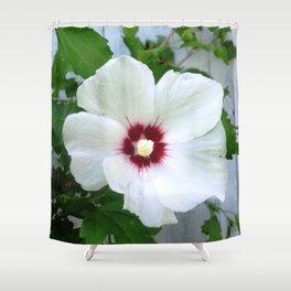 White Hibiscus Flower Ruffle Shower Curtain