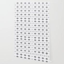 Southwestern Pattern Gray Cream Wallpaper