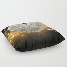 Valentine's Day, Glitter Heart, Gold Sparkle Floor Pillow
