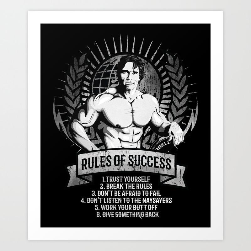 Gym Fitness Motivation Success Rules Bodybuilding Art Print By Mysunlife Society6