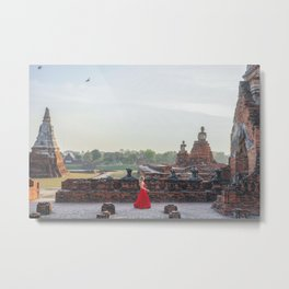 Woman in a Temple in Ayutthaya, Thailand Metal Print
