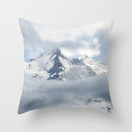 Eiger Mountain in Clouds Throw Pillow