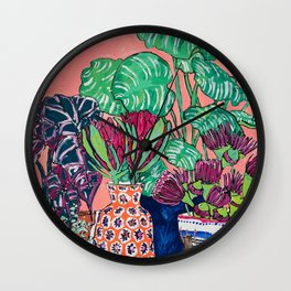 Cluster of Houseplants and Proteas on Pink Still Life Painting Wall Clock