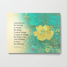 Serenity Prayer Peony Yellow Turquoise Metal Print