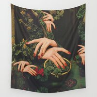 "plants Wall Tapestries featuring ""Touch Plants"" by Mariano Peccinetti"