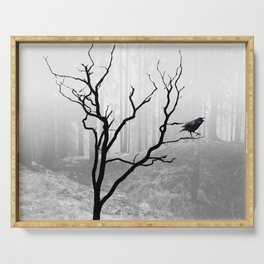 Black Crow in Foggy Forest A118 Serving Tray