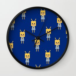 Shy Little Robot (blue) Wall Clock