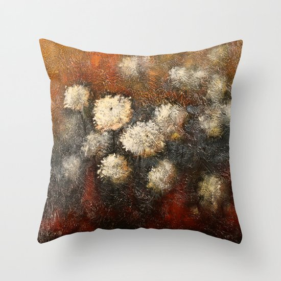 Golden Blossoms Throw Pillow