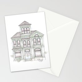 Green Italianate Victorian Stationery Cards