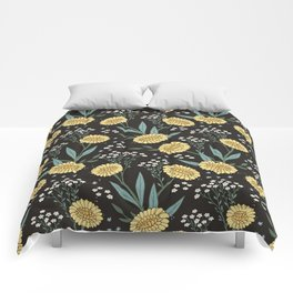 Yellow Dadylion Flowers - Black backgrund Comforters