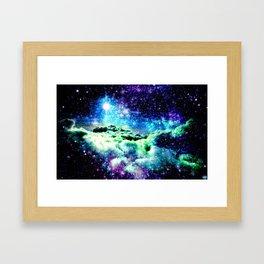 Galaxy Clouds Blue Purple Green Framed Art Print