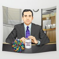 michael scott Wall Tapestries featuring Steve Carell as Michael Scott (The Office) by Leo Maia