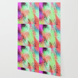 flower pattern abstract background in green pink purple blue Wallpaper