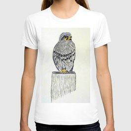 Fine Art New Zealand  Falcon in Graphite and Charcoal on 300 gsm  T-shirt