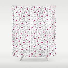 hot pink kitties Shower Curtain