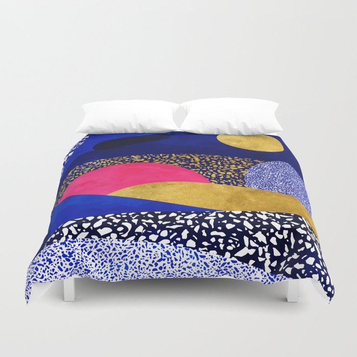 Terrazzo galaxy blue night yellow gold pink Duvet Cover