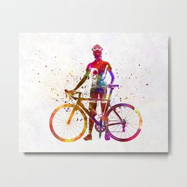 Woman triathlon cycling 02 Metal Print