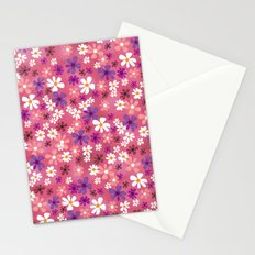 Retro Pink Flowers Stationery Cards