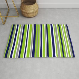 Lime Green Bright Navy Blue Gray and White Vertical Stripes Pattern Rug