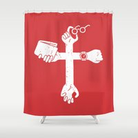 wallet Shower Curtains featuring Sign of the Cross by Pencil Bandit