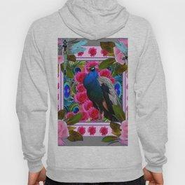 BLUE DRAGONFLIES PEACOCK & PINK ROSES ART Hoody